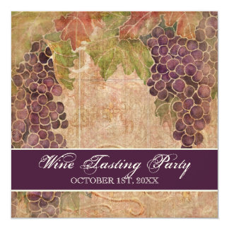 "Wine Tasting Party Invitation Aged Grape Vineyard 5.25"" Square Invitation Card"