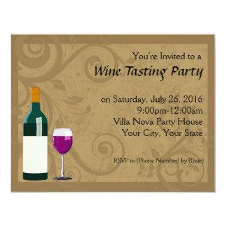 "Wine Tasting Party Invitations 4.25"" X 5.5"" Invitation Card"