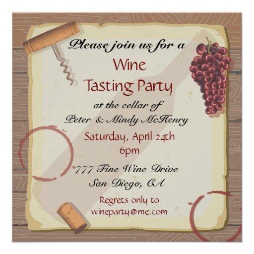 Wine Tasting Party on Vintage paper Invitations