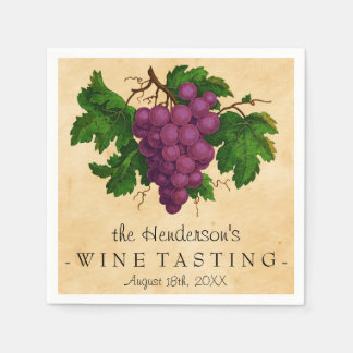 Wine Tasting Party Vintage Grapes Personalized Paper Napkin