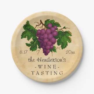 Wine Tasting Party Vintage Grapes Personalized Paper Plate