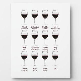 Wine tasting plaque