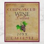 Wine Template Elegant Vintage Purple Grapes Custom Wine Label at Zazzle