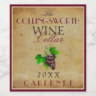 Wine Template Elegant Vintage Purple Grapes Custom Wine Label