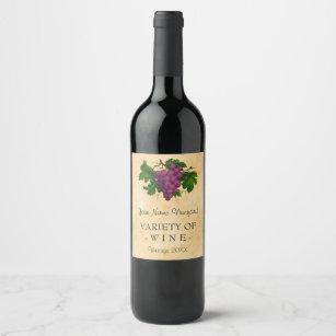Wine Template Elegant Vintage Purple G Custom Label
