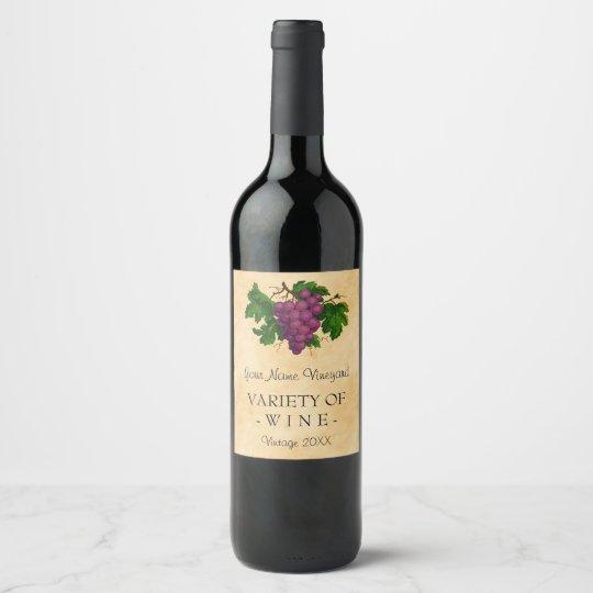 wine template elegant vintage purple grapes custom wine label