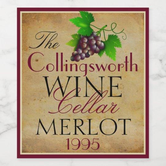 Wine Template Elegant Vintage Purple Grapes Custom Wine