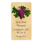 Wine Template Vintage Grapes Personalized Bottle Label