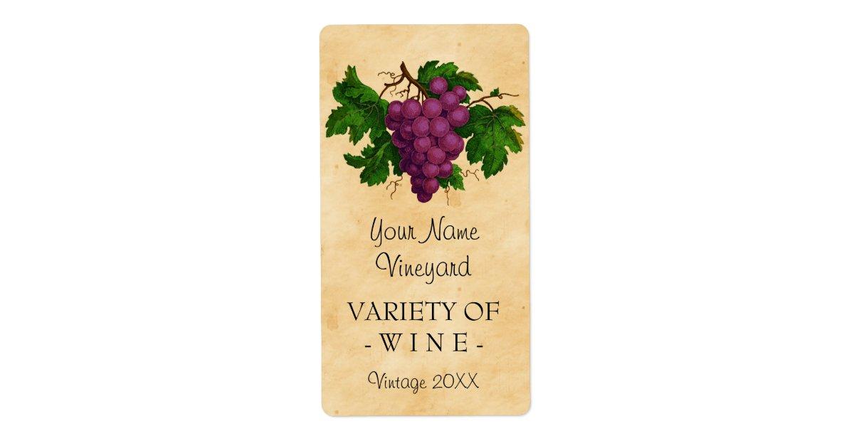 wine template vintage grapes personalized bottle label. Black Bedroom Furniture Sets. Home Design Ideas