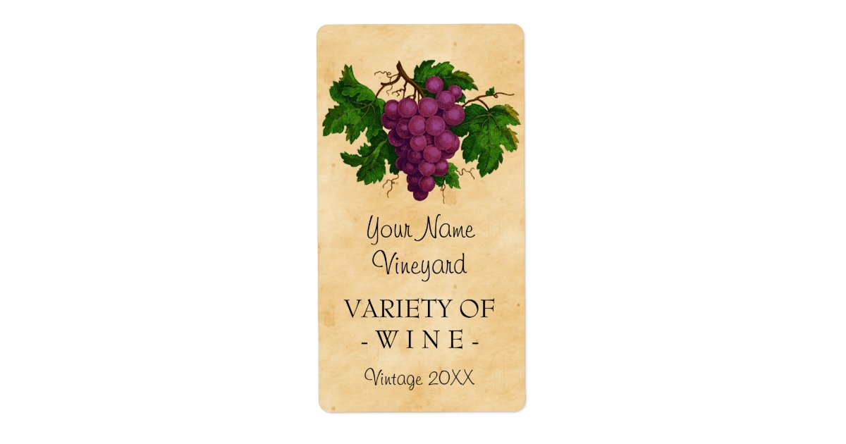 Wine Template Vintage Grapes Personalized Bottle Label ...