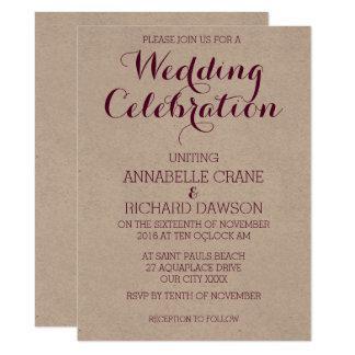 Wine Text on Ecru Personalized Wedding Invitations