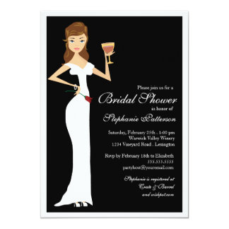 "Wine Theme Bridal Shower Celebration Invitation 5"" X 7"" Invitation Card"