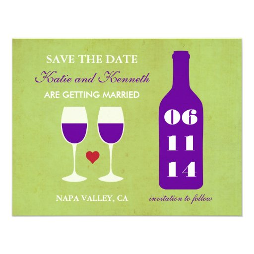 Wine Theme Save the Date Card Custom Announcement