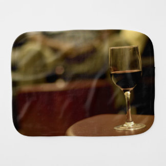 Wine Themed, A Glass Of Red Wine Sits On A Small T Burp Cloth