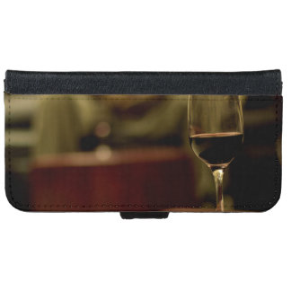 Wine Themed, A Glass Of Red Wine Sits On A Small T iPhone 6 Wallet Case