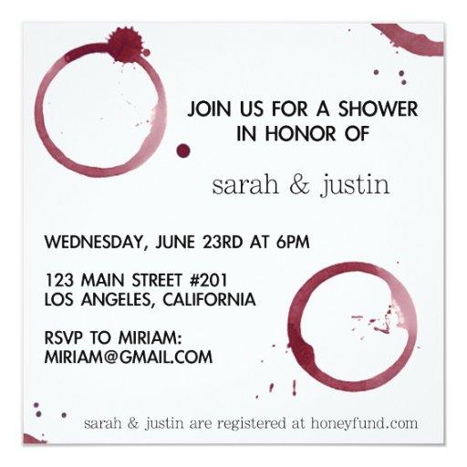 """Wine Themed Invitation 5.25"""" Square Invitation Card"""