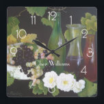 """Wine themed Personalised Square Wall Clock<br><div class=""""desc"""">Ready to be customised to your specifics. Oil on Canvas by Jan Sinclair.</div>"""
