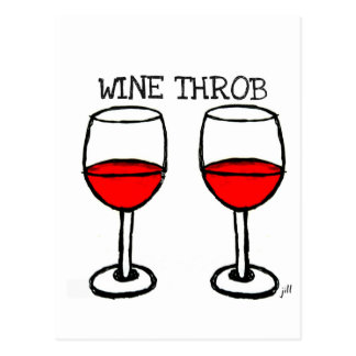 """WINE THROB"" FUN RED WINE PRINT POSTCARD"