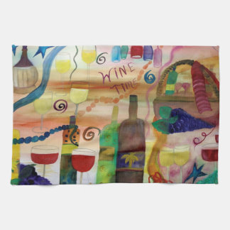Wine time art bar and  kitchen towel