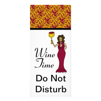 """Wine Time"" Diva Damask Do Not Disturb Rack Card"