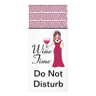 """Wine Time"" Goddess Key Pattern Do Not Disturb Rack Card"