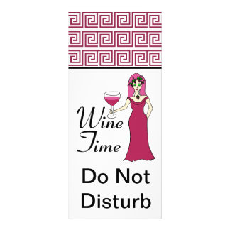 """Wine Time"" Goddess Key Pattern Do Not Disturb Custom Rack Cards"