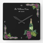 Wine Time Personalized Square Wall Clock