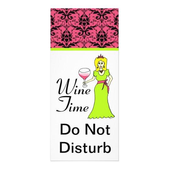 """Wine Time"" Princess Damask Do Not Disturb Rack Card"