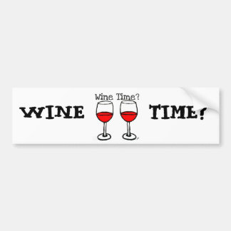 """WINE TIME?"" RED WINE GLASSES PRINT BUMPER STICKER"