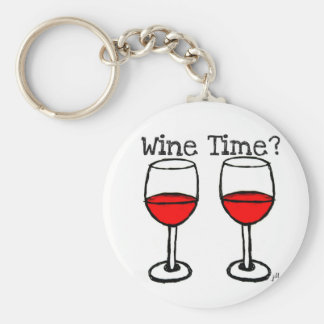"""WINE TIME?"" RED WINE GLASSES PRINT KEYCHAIN"