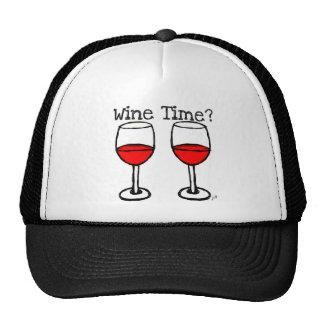 """WINE TIME?"" RED WINE GLASSES PRINT TRUCKER HAT"