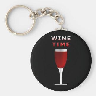 Wine Time Round Button Keychain