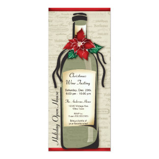 Wine Varietal and Whimsical Bottle Holiday Party Personalized Announcements