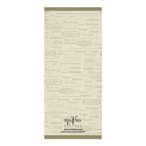 Wine Varietal and Whimsical Bottle Invitation (back side)