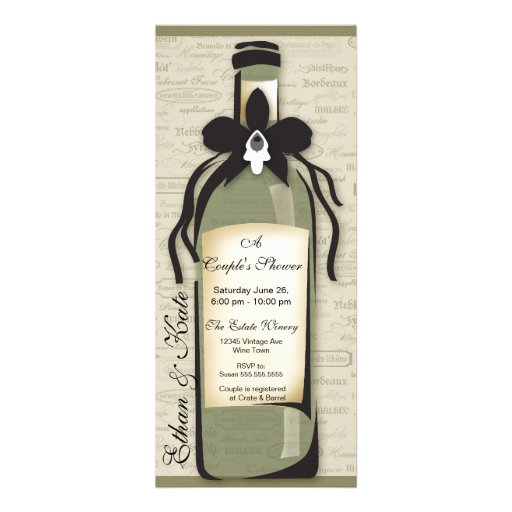 Wine Varietal and Whimsical Bottle Invitation