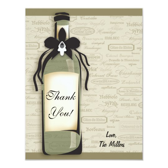 Wine Varietal and Whimsical Bottle Note Card