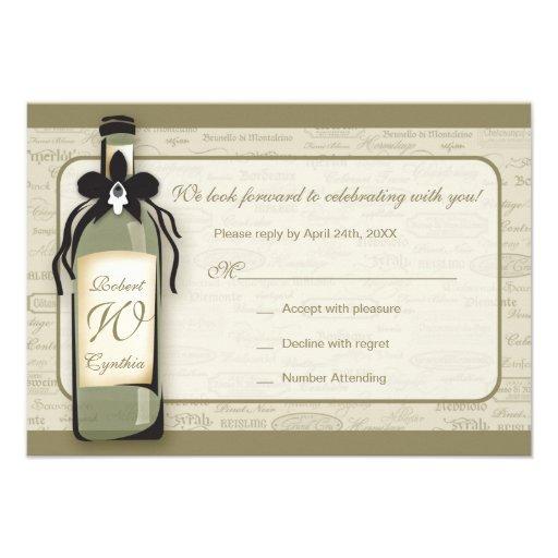 Wine Varietal and Whimsical Bottle RSVP Card Invitation
