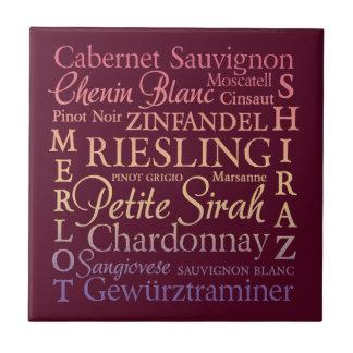 Wine Varietals Decorative Ceramic Tile