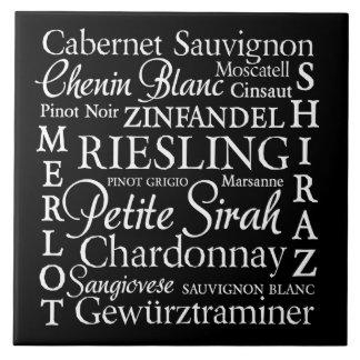 Wine Varietals Decorative Ceramic Tile -White Font