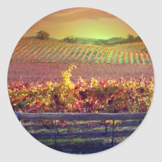 Wine Vineyard Classic Round Sticker
