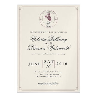 Wine Vineyard Modern Vintage Wedding Invitation