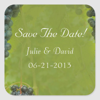Wine Vineyard Theme Wedding Save The Date Square Sticker
