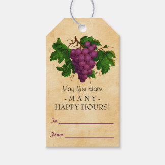 Wine Vintage Grapes Gift Favor Personalized Bottle Gift Tags