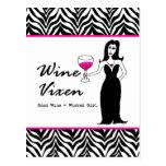 """Wine Vixen """"Good Wine = Wicked Girl"""" Postcards"""