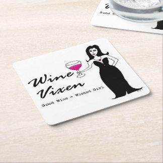 """Wine Vixen """"Good Wine = Wicked Girl"""" Square Paper Coaster"""