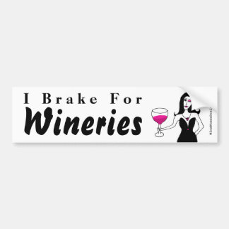 """Wine Vixen """"I Brake For Wineries"""" Bumper Sticker"""