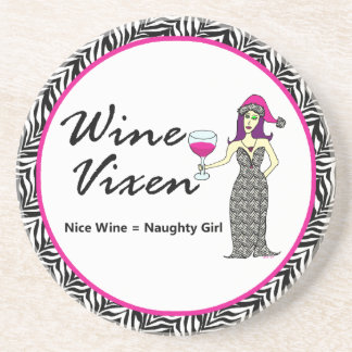 "Wine Vixen ""Nice & Naughty"" Holiday Zebra Print Coasters"