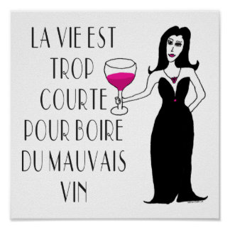 Wine Vixen Simply Wicked French Saying Poster