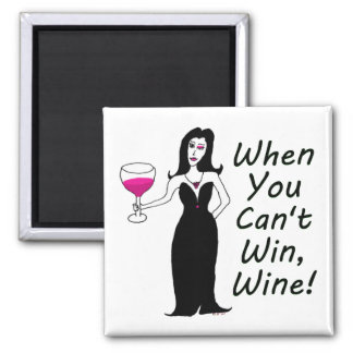 Wine Vixen Simply Wicked When You Can't Win, Wine 2 Inch Square Magnet