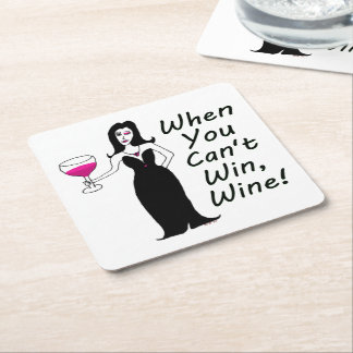 Wine Vixen Simply Wicked When You Can't Win, Wine Square Paper Coaster